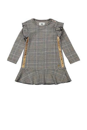 geruite jurk met contrastbies en glitters grijs/goud