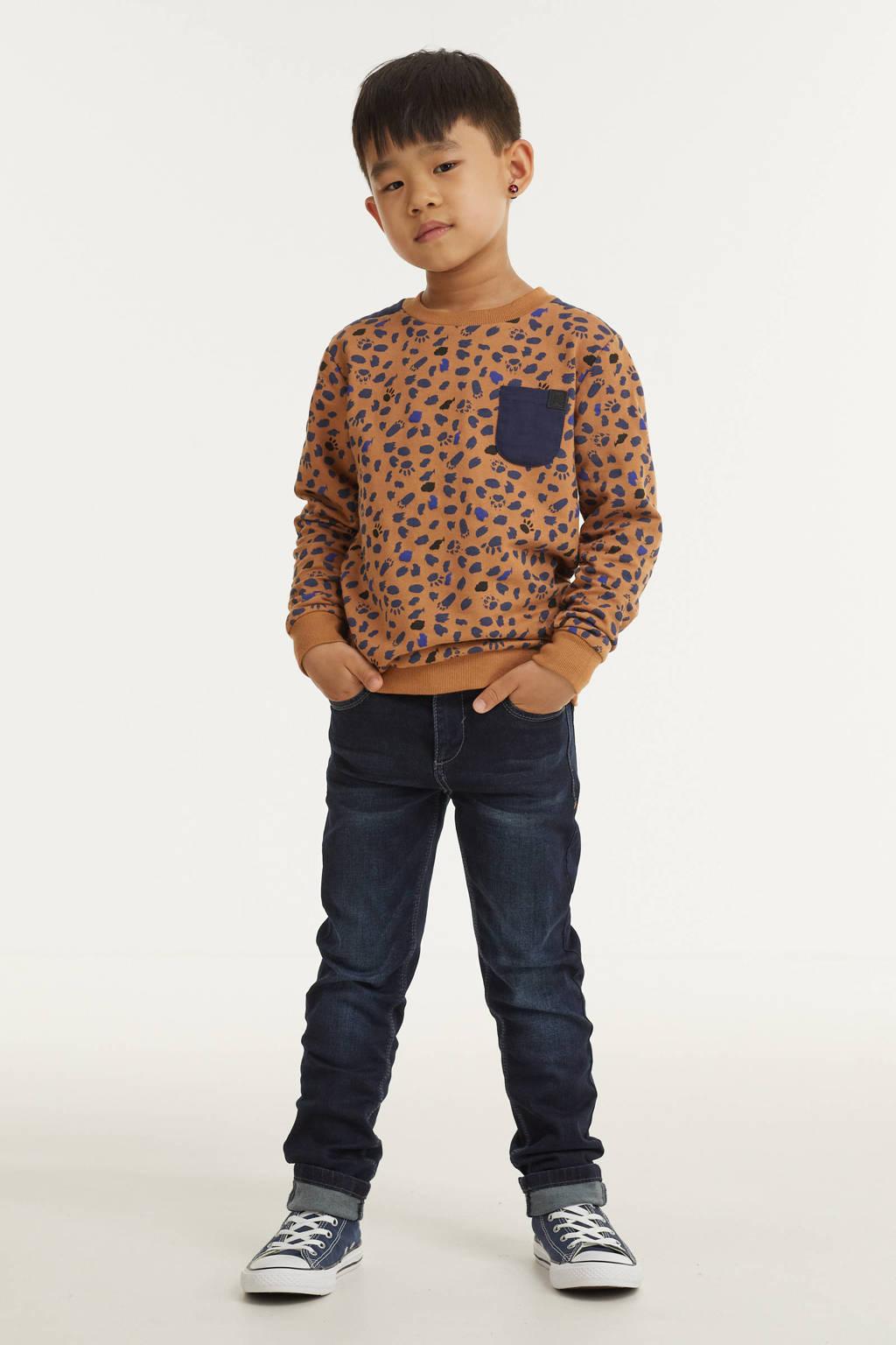 Koko Noko sweater met all over print camel/donkerblauw, Camel/donkerblauw