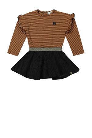 jurk met glitters bruin/zwart