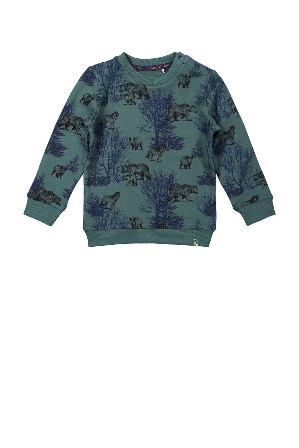 Koko Noko sweater met all over print groen/donkerblauw, Groen/donkerblauw