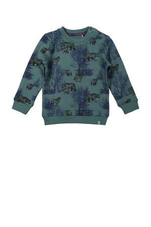 sweater met all over print groen/donkerblauw