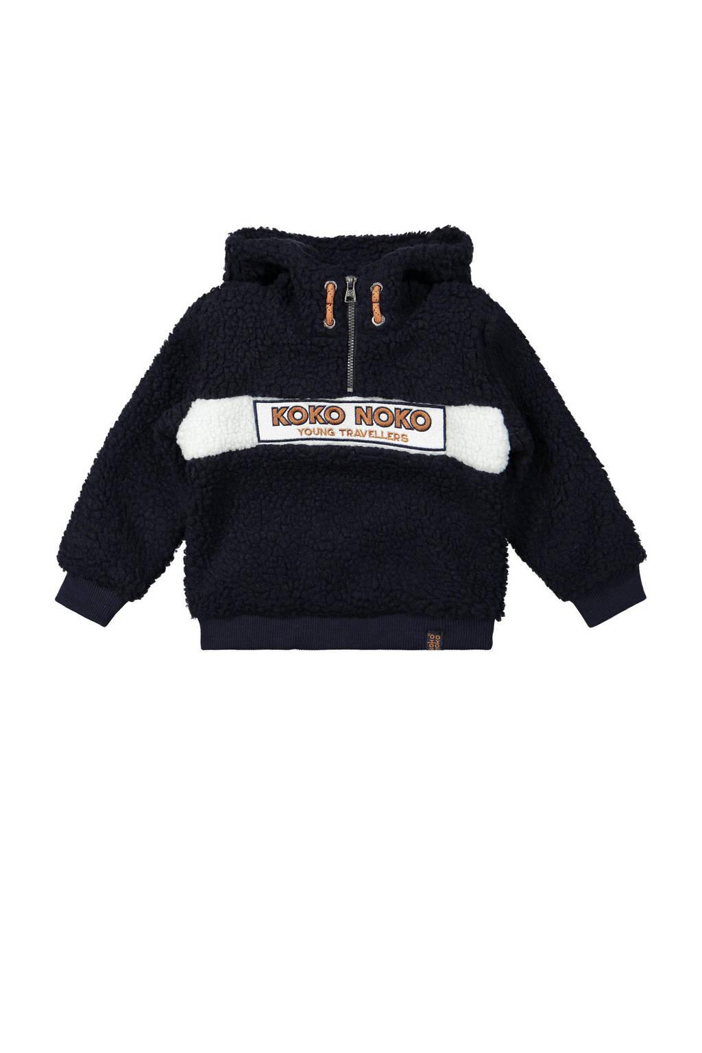 Koko Noko hoodie met logo donkerblauw/wit, Donkerblauw/wit