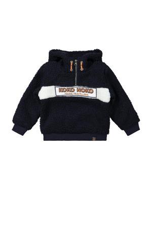 hoodie met logo donkerblauw/wit
