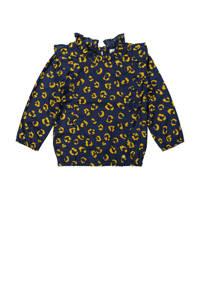 Koko Noko longsleeve met all over print en ruches donkerblauw/geel, Donkerblauw/geel