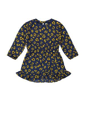 jurk met all over print donkerblauw/geel