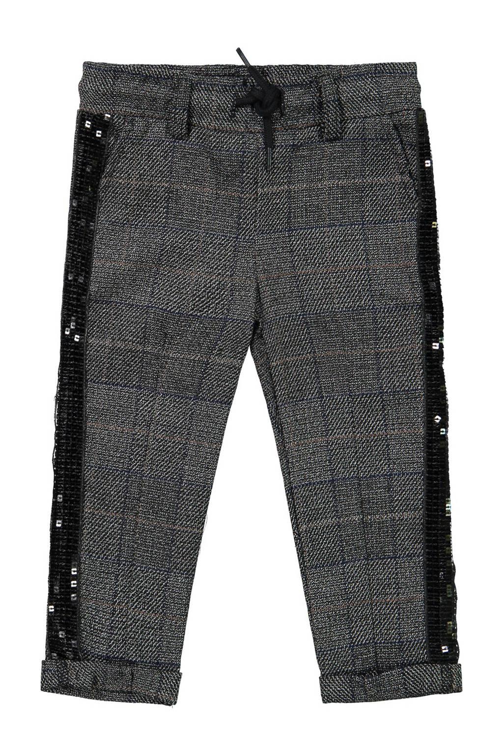 Koko Noko geruite broek met zijstreep en pailletten grijs, Grijs