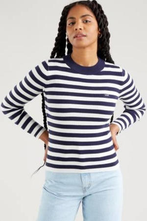 ribgebreide sweater met logo donkerblauw/wit