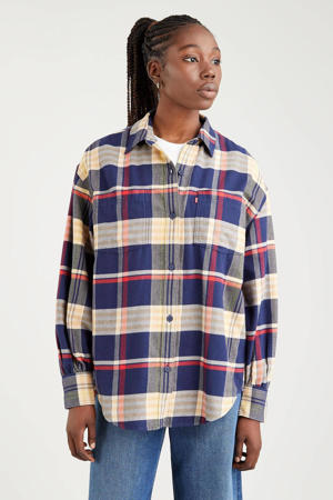 geruite blouse REMI UTILITY SHIRT donkerblauw