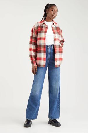 geruite blouse REMI UTILITY SHIRT rood