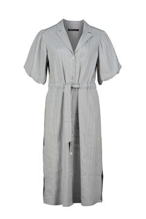 blousejurk DELANY met krijtstreep en glitters grijs