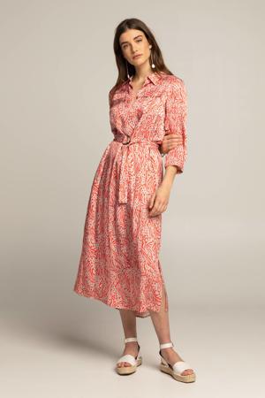 jurk DELPHINE met dierenprint en ceintuur koraalrood/poederroze