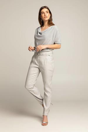 slim fit pantalon DIEUWERTJ met krijtstreep grijs