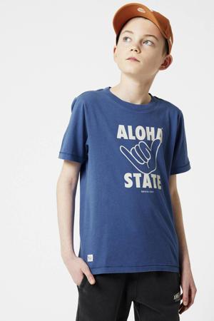 T-shirt Eamon met printopdruk kobaltblauw