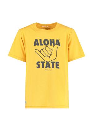 T-shirt Eamon met printopdruk geel