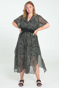 Paprika A-lijn jurk met zebraprint donkergroen/zwart, Donkergroen/zwart