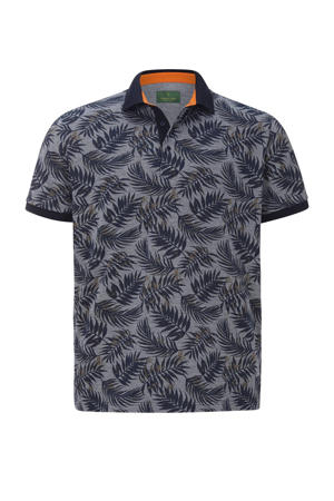 oversized polo EARL ANGUS Plus Size met all over print blauw