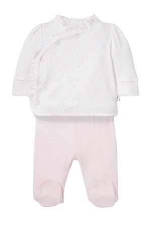 newborn baby pyjama van biologisch katoen roze