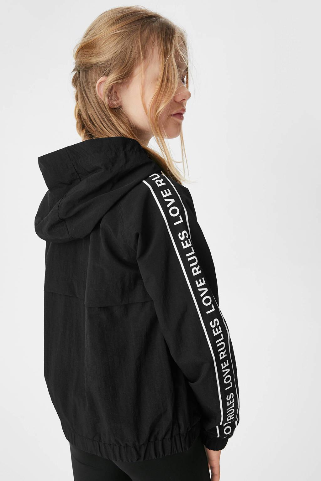 C&A Here & There  zomerjas met tekst zwart, Zwart