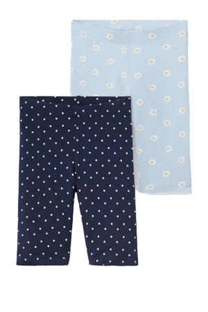 legging - set van 2 all over print donkerblauw/lichtblauw