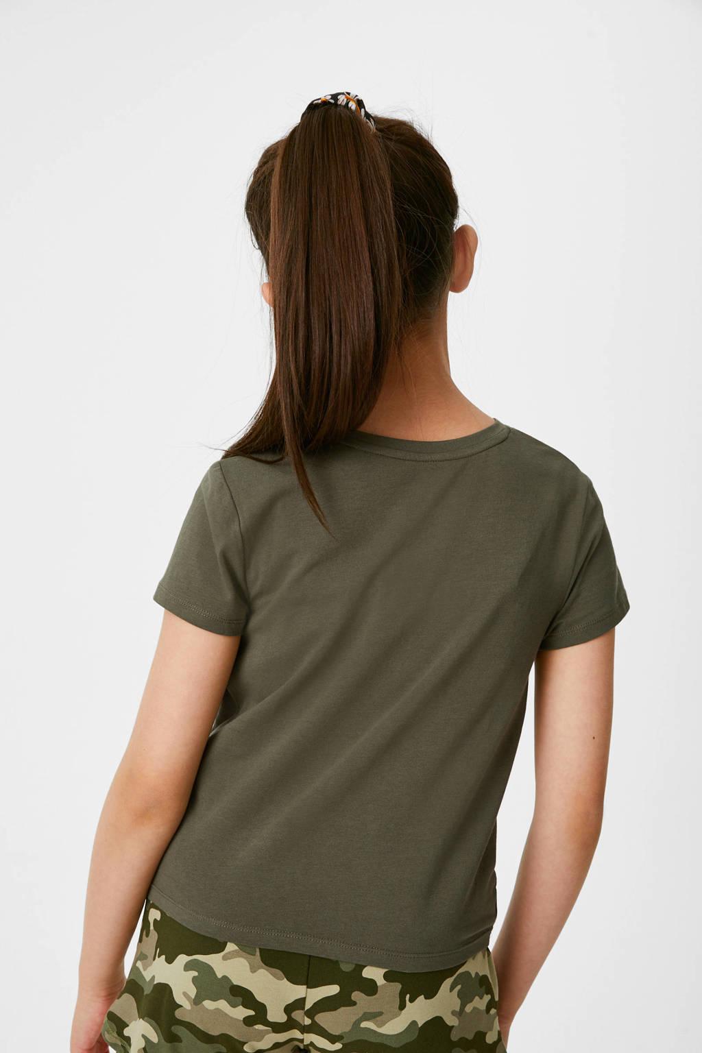 C&A Here & There T-shirt met biologisch katoen olijfgroen, Olijfgroen