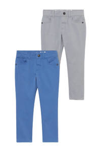 C&A Palomino slim fit broek - set van 2 lichtgrijs/blauw, Lichtgrijs/blauw