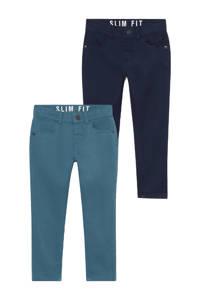 C&A Palomino slim fit broek - set van 2 groen/blauw, Groen