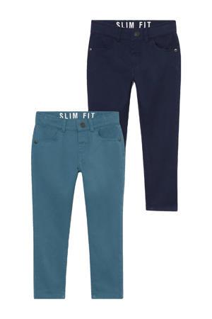 slim fit broek - set van 2 groen/blauw