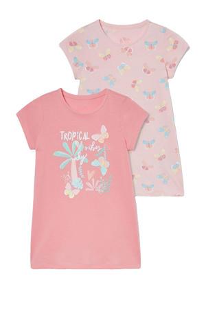 nachthem - set van 2 roze