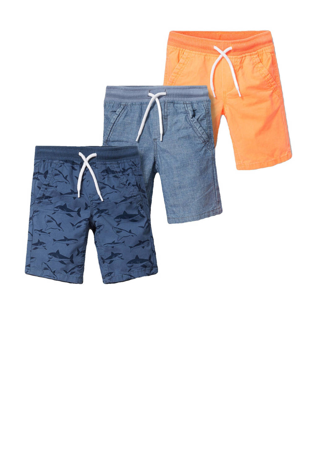 C&A Palomino bermuda - set van 3 blauw/oranje, Blauw/oranje