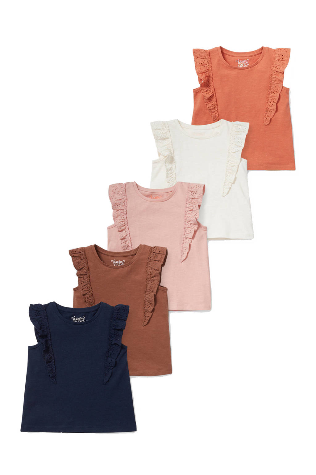 C&A Happy girls Club T-shirt met broderie en ruches - set van 5 uni multi, Donkerblauw/bruin/roze/ecru/oranje