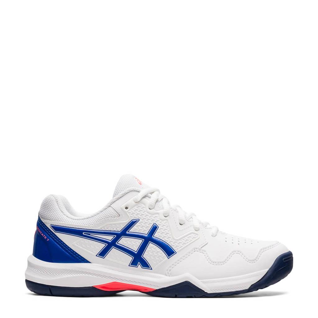 ASICS Gel-Dedicate 7 tennisschoenen wit/blauw, Wit/blauw/rood