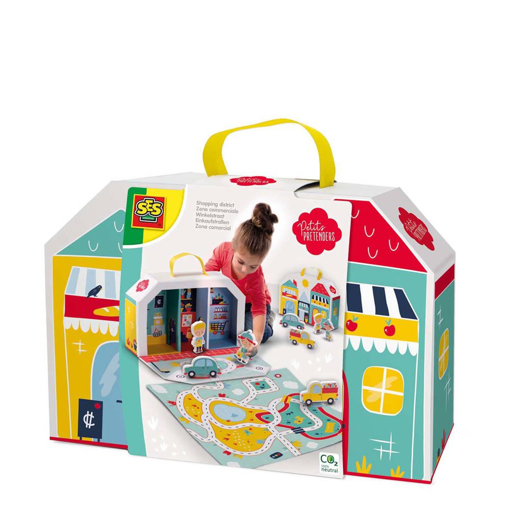 SES Petits Pretenders  Winkelstraat speelkoffer en speelmat