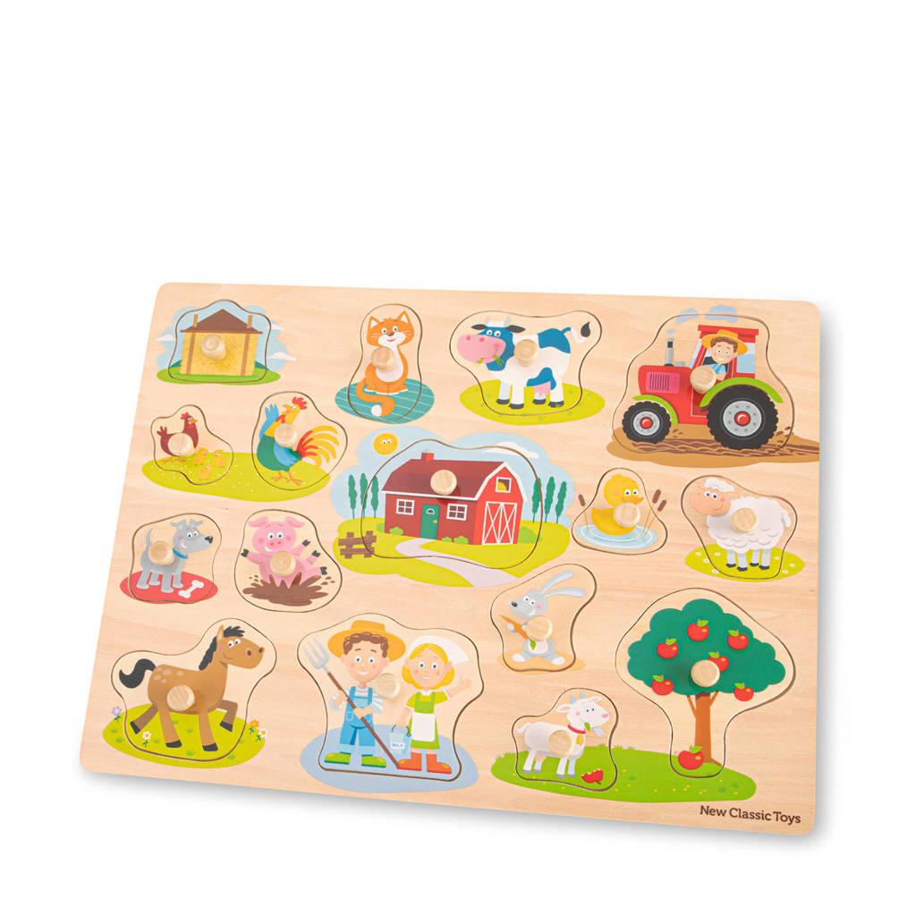 New Classic Toys Peg Puzzle Farm  vormenpuzzel 16 stukjes