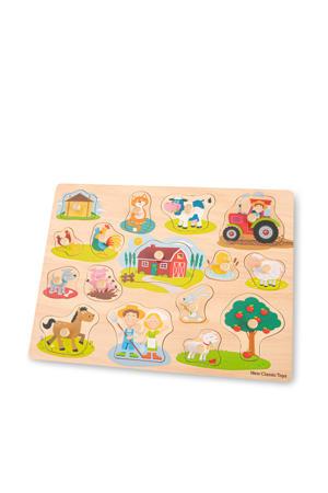 Peg Puzzle Farm  vormenpuzzel 16 stukjes