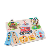 New Classic Toys Peg Puzzle Fire Brigade  vormenpuzzel 8 stukjes