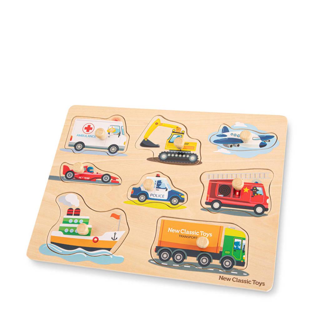 New Classic Toys Peg Puzzle Transport  vormenpuzzel 8 stukjes