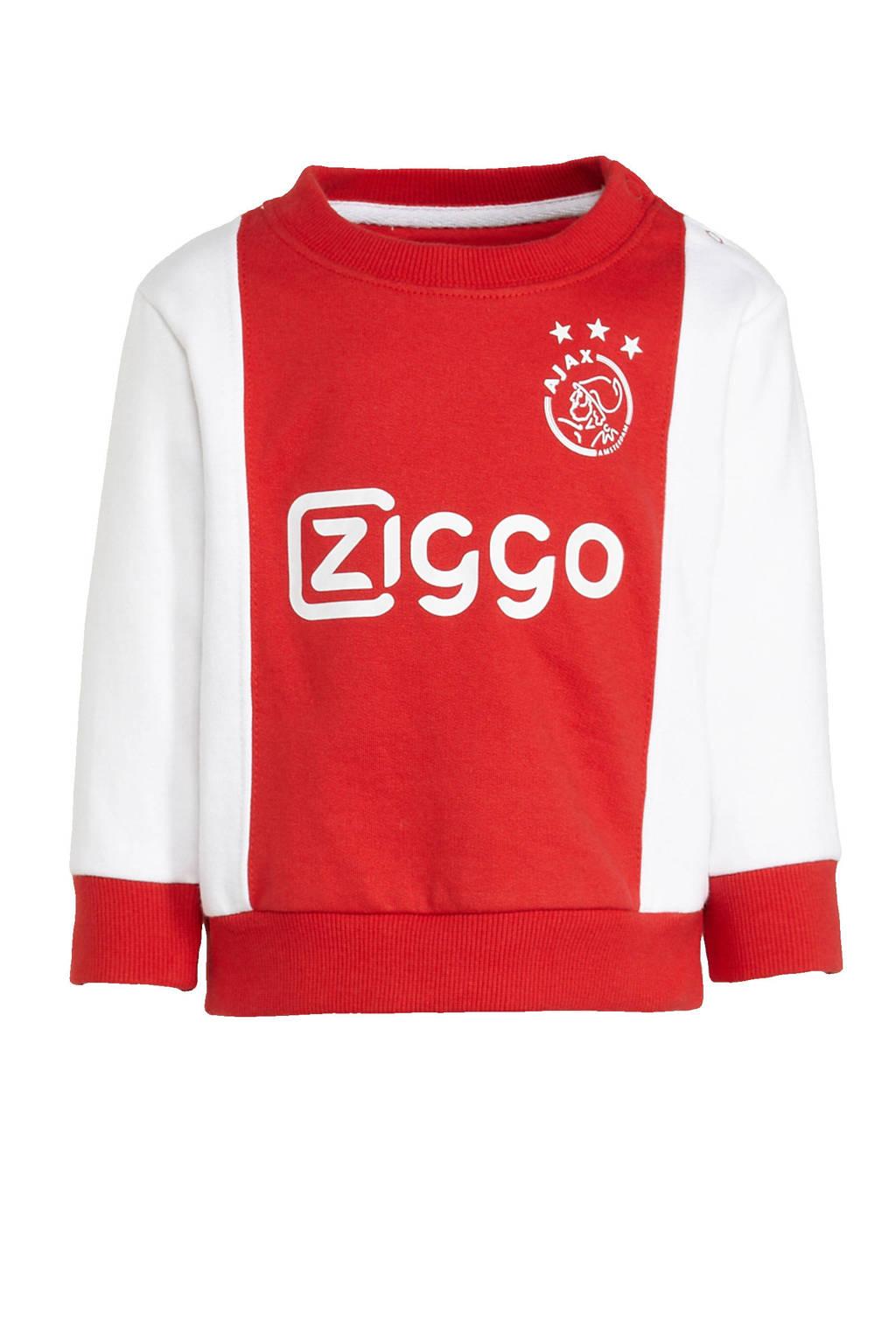 Ajax Ajax baby sweater met logo wit/rood, Wit/rood