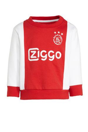 Ajax baby sweater met logo wit/rood