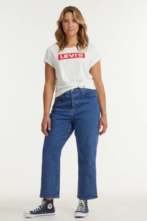 cropped high waist straight fit jeans RIBCAGE dark denim