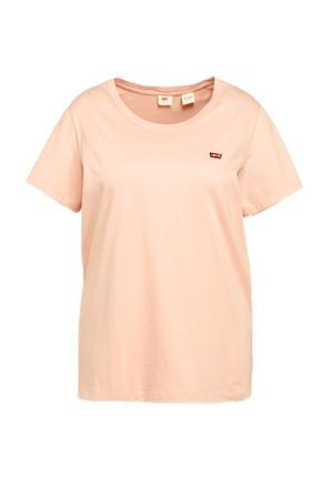 T-shirt PERFECT TEE met logo zalmroze/rood/wit