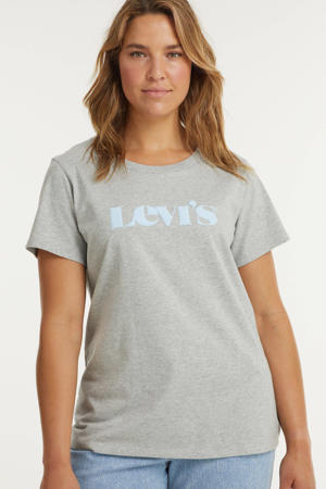 T-shirt PERFECT TEE met logo lichtgrijs/mintgroen