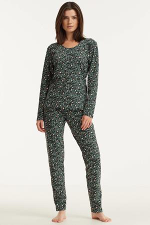 pyjama met panterprint groen/zwart