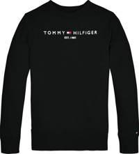 Tommy Hilfiger unisex sweater met logo zwart, Zwart
