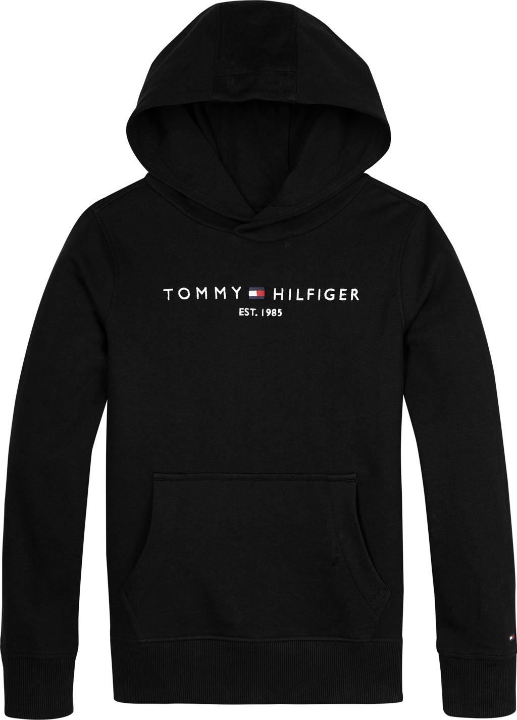 Tommy Hilfiger unisex hoodie met logo zwart, Zwart