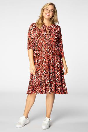 A-lijn jurk met dierenprint en plooien rood
