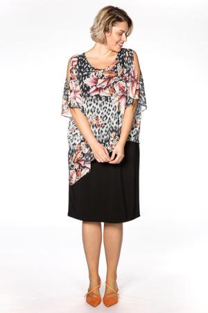jurk met all over print en volant zwart/multi