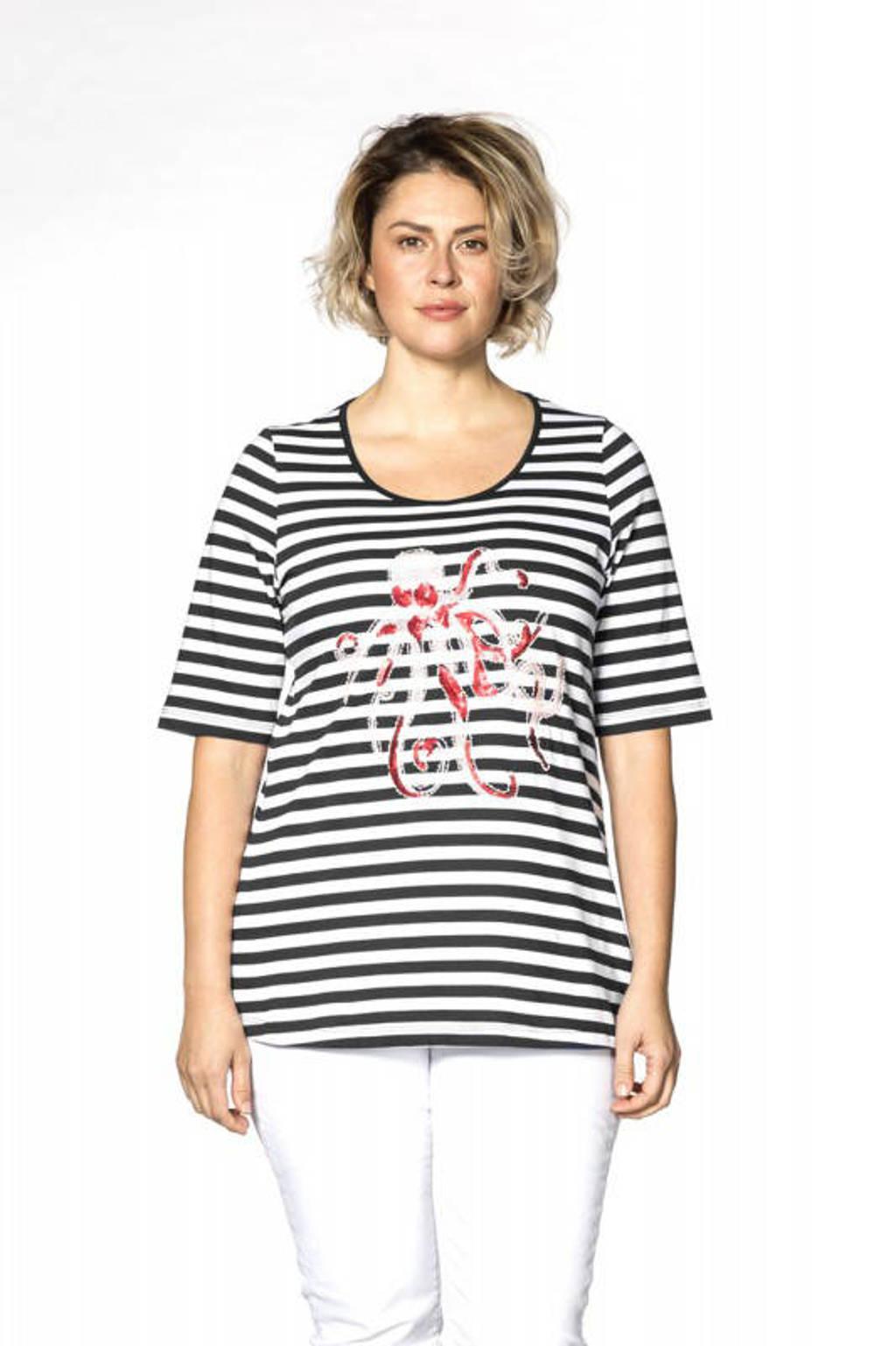 Yoek gestreept T-shirt wit/zwart, Wit/zwart