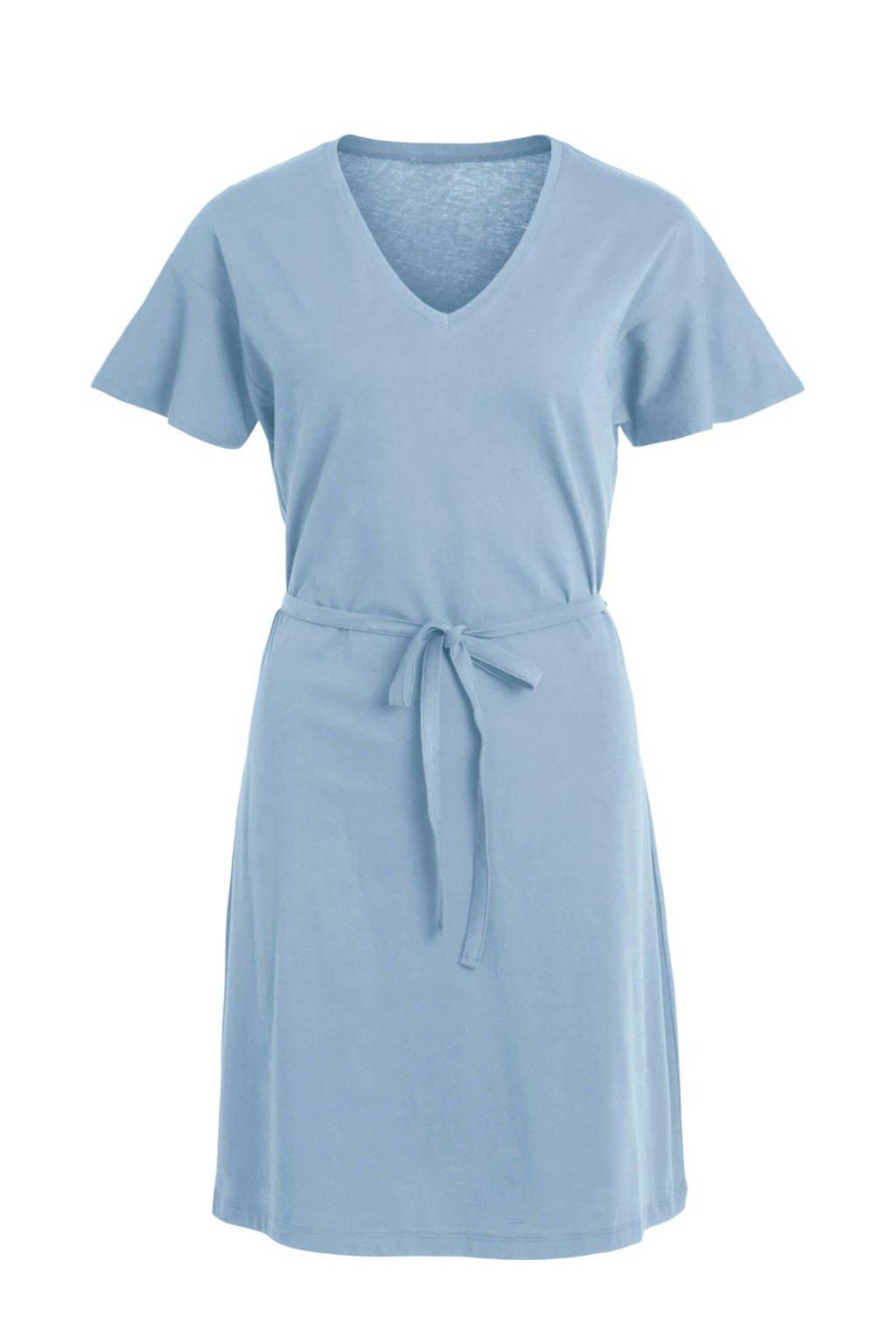VILA A-lijn jurk met ceintuur blauw, Blauw