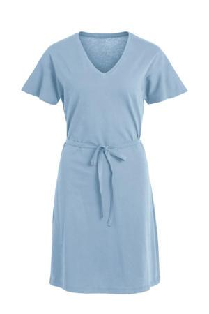 A-lijn jurk met ceintuur blauw