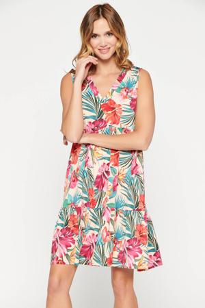 gebloemde jurk beige/roze/blauw